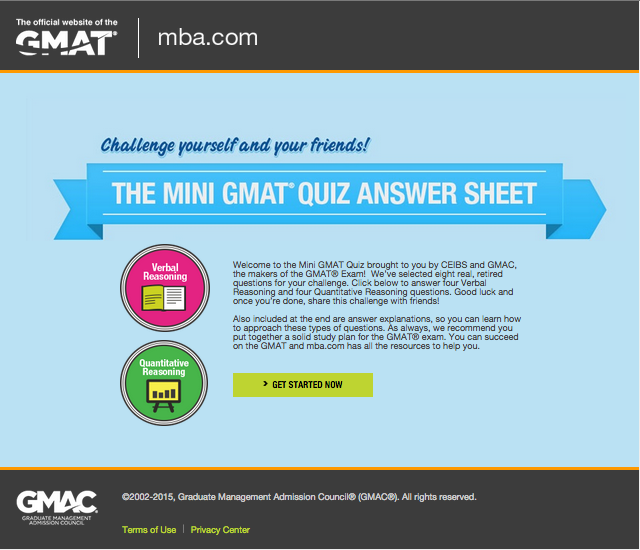 Challenge yourself and your friends by taking GMAT Mini Quiz